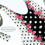 Halter romper, pink roses, black polka dots, fully lined, Boho toddler